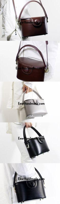 Genuine Leather Doctor Bag Bucket Bag Handbag Shoulder Bag for Women Leather Crossbody Bag