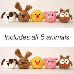 Crochet Miniature Animals by Suzanne Houghton Crochet Amigurumi Free Patterns, Crochet Animal Patterns, Crochet Animals, Crochet Dolls, Crochet Yarn, Crochet Cactus, Easter Crochet, Cute Crochet, Crochet Flower Tutorial