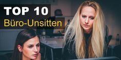 Die zehn am weitesten verbreiteten Unsitten in deutschen Büros. Repräsentative Befragung von 1.015 Bürokräften in Deutschland.
