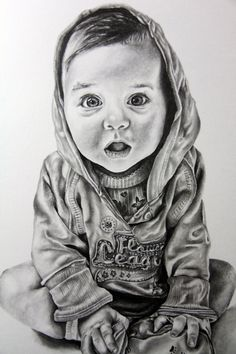 For Sale: Realistic baby portrait in graphite pencil on white Bristol paper. The artwork is 11 X 14 inches and in perfect quality. It has been sprayed with fixate so the pencil will not smear or sm...