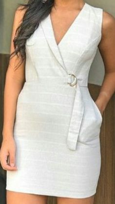 Vestido Little White Dresses, Lovely Dresses, Trendy Dresses, Day Dresses, Short Dresses, Fashion Wear, Fashion Looks, Fashion Outfits, Dressy Casual Outfits