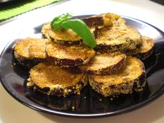 Baked Breaded Eggplants. Prepare some breadcrumbs with chopped fresh basil and parmesan cheese. Delicious with some greek yogurt and balsamic cream sauce.