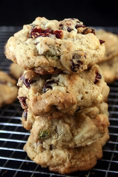Chewy, Gooey White Chocolate Cranberry Pistachio Drop Cookies