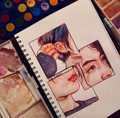 Kpop Drawings, Art Drawings Sketches Simple, Pencil Art Drawings, Art Diary, Arte Sketchbook, Korean Art, Cute Art, Painting & Drawing, Art Reference