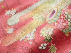 Japanese Vintage Kimono Silk Pink Silky Pink Cloud Flower Folding Fan P060807 | eBay