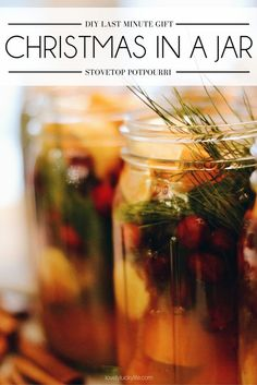 make your house smell like Christmas - make Christmas in a jar for a super easy last minute DIY Christmas gift! great to give alongside a gift card - I keep these on-hand in the fridge for last-minute Christmas gifts! yummy Christmas potpourri