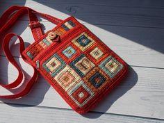 """Купить или заказать Лакомник """"Сердечный"""",Сумка-карман, сумка на пояс, Лоскутная сумка, Эко в интернет магазине на Ярмарке Мастеров. С доставкой по России и СНГ. Материалы: хлопок, хлопок 100%, синтепон, молния,…. Размер: 20*15 см, кармашек 15*15 см Wedding Bag, Textiles, Quilted Bag, Pouch, Handbags, Quilts, Sewing, Pattern, Tote Bags"""