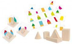 3D GeoForm / Lernspiel mit 30 Teilen - unterschiedliche geometrische Formen + Vorlagenkarten / Material: Holz und Pappe / Made in Germany / für Kinder ab 5 Jahren