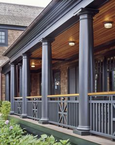 A place to share beautiful images of interior design, residential architecture and occasional other. Porch Railing Designs, Front Porch Railings, Front Porch Design, Porch Columns, Railing Ideas, Outdoor Railings, Shingle Style Architecture, Architecture Details, Craftsman Porch