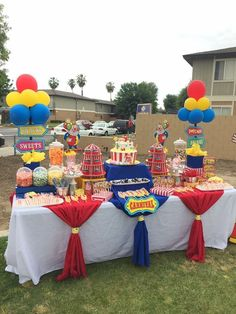 Dessert Table - Circus - My WordPress Website Carnival Baby Showers, Circus Carnival Party, Kids Carnival, Circus Theme Party, Carnival Birthday Parties, Birthday Party Themes, Circus Circus, Carnival Decorations, Circus Cakes