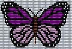 Purple and pink Butterfly Square Grid Pattern 60 Columns X 32 Columns (Pattern by me, Man in the Book) Butterfly Cross Stitch, Cross Stitch Rose, Cross Stitch Animals, Bead Loom Patterns, Beading Patterns, Embroidery Patterns, Cross Stitch Designs, Cross Stitch Patterns, Cross Stitching