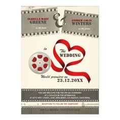 Movie Love Wedding Invitation. Perfect wedding invite for a movie or cinema Hollywood themed wedding.  http://www.zazzle.co.uk/movie_love_wedding_invitation-161452113720168212