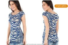 Camiseta de malha Zebra Spray Mercatto, por R$ 22,90