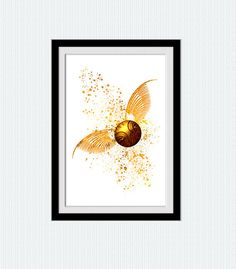 Golden snitch poster Harry Potter watercolor by ColorfulPrint