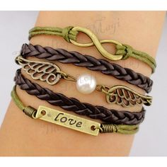 Infinity, Bronze Wings and Golden Ball & Love Charm... ($7.99) ❤ liked on Polyvore