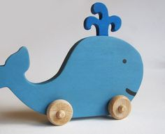 Wooden Whale Push Toy Waldorf Dinosaur by Imaginationkids on Etsy, $17.00