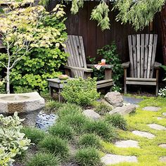 moss and stepping stones; water feature; maple; adirondack chairs