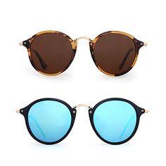 d6a0864eb5 Amazon.com  Retro Polarized Round Sunglasses Small Mirror Tinted Circle  Lens Men Women 2 Pack (Brown   Blue)  Clothing