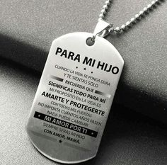 Para santy Love My Kids, My Love, Mom Son, Quotes About God, True Love, Dog Tag Necklace, Necklace Charm, Sons, Inspirational Quotes