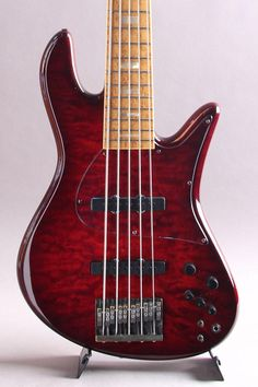 FODERA Emperor-5 Bass / Trans Red Quilted Maple Top...