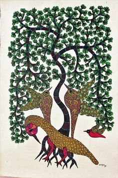 Buy Gond painting painting online - the original artwork by artist Brajbhushan Dhurve, exclusively available at Mojarto only. Original Paintings, Original Art, Madhubani Painting, Indian Paintings, Online Painting, Acrylic Art, Tribal Art, Illustration Art, Art Illustrations
