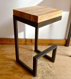 Reclaimed Wood & Steel Barstool