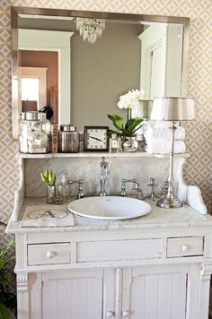 marble vintage backsplash vanity - Google Search