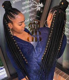 65 Badass Box Braids Hairstyles That You Can Wear Year-Round - Hairstyles Trends Braided Hairstyles For Black Women, Braided Ponytail Hairstyles, African Braids Hairstyles, Girl Hairstyles, African Braids Styles, Hairstyles Videos, Hairstyles 2018, Braided Hairstyles For Black Hair, Hairstyles Games