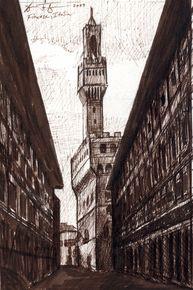 Palazzo Vechio-Original Ink on Paper
