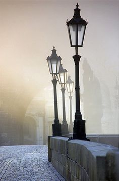 Good old Prague I hope for the day to see light posts like these in fog like this in person. Beautiful World, Beautiful Places, Arte Van Gogh, Prague Czech Republic, Ville France, Lantern Lamp, Old Street, Street Lamp, Belle Photo