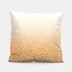 """""""Ombre orange and white swirls zentangle"""" Pillow by @savousepate on Live Heroes #homedecor #drawing #pattern #zentangles #doodles #abstract #white #orange #apricot #bronze #copper #ocher #brown #ombre #gradient #autumncolors #fallcolors"""