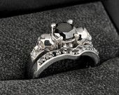14K White Gold Black and White Diamond Skull Wedding Ring Set