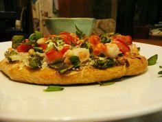 shrimp, pesto & asparagus pizza