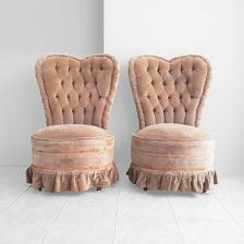 2 mid century HEART shaped tufted high back slipper by misovintage Chair And Ottoman, Armchair, Fancy Chair, Slipper Chairs, Cool Chairs, Vintage Furniture, Floor Chair, Etsy Vintage, Heart Shapes