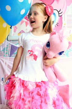 Personalized My Little Pony Feather Tutu Skirt Birthday Outfit - Pinkie Pie