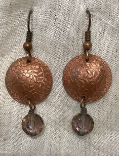 Copper, Drop Earrings, Beads, Floral, Vintage, Jewelry, Beading, Jewlery, Jewerly