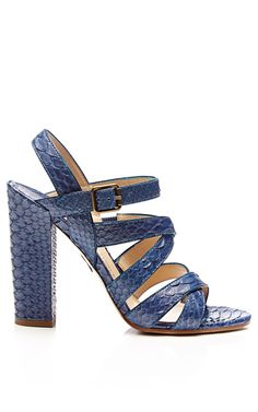 M'O Exclusive: Lotus Snakeskin Block-Heel Sandals by Paul Andrew - Moda Operandi