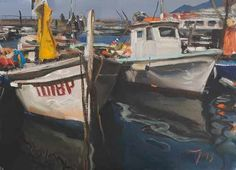 daily painting titled Fishing boats, Camogli harbour - click for enlargement