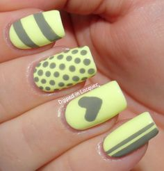 Glow in the dark nails with grey designs- creates great patterns in the dark