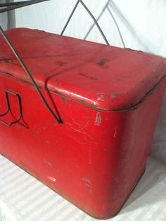 Vintage Metal Red Cooler by ZassysTreasures on Etsy, $35.00