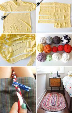 "How to diy old t-shirt crochet rug "" cool creativity. Diy And Crafts Sewing, Yarn Crafts, Fabric Crafts, Sewing Hacks, Sewing Projects, Diy Projects, Tshirt Garn, Braided Rag Rugs, Fabric Strips"