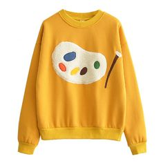 Artist Palette Sweatshirt (480 ARS) ❤ liked on Polyvore featuring tops, hoodies, sweatshirts, yellow top, yellow sweatshirt and relaxed fit tops