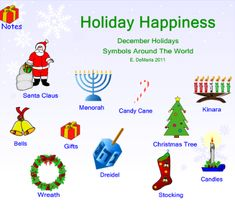 December Holidays - This lesson explores Hanukkah, Kwanzaa, and Christmas. It provides a brief description of each holiday through text and video links. After each December holiday is introduced, there is a short activity.  Resource type: SMART Notebook lesson  Subject: History,  Special Education,  Social Studies  Grade: Pre-Kindergarten,  Kindergarten,  Grade 1,  Grade 2