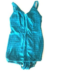 Vintage 50s Mid Century Sinclair Women's Swimsuit One Piece Bathing Suit Blue Stripe Union Label Theater Costume