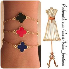 """RED Clover Style Bracelet Stylish Red clover style bracelet with gold. This bracelet looks great alone or when stacked with other colors!   Length 7"""" extends to 9"""" Nickel and lead free Jewelry Bracelets"""