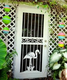 F l a m i n g o L i n g o Tropical Florida Cottage Garden ~ flamingo gate