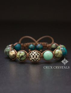 Find the best prices on African Turquoise Brown Macrame Gemstone Beaded Bracelet, Shamballa Bracelet with Swarovski Elements, Wrap Bracelet, Boho Stack, Crux Crystals and save money. Shamballa Bracelet, Stone Bracelet, Macrame Jewelry, Macrame Bracelets, Diy Schmuck, Bijoux Diy, Leather Jewelry, Bracelets For Men, Diamond Bracelets