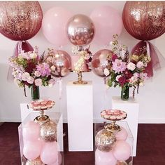 A beautiful and simple set up for Ellys christening balloons florals by plinths and cake stands by Balloon Decorations, Birthday Decorations, Baby Shower Decorations, Wedding Decorations, Glitter Party Decorations, 15th Birthday, Birthday Parties, Birthday Table, Shower Party