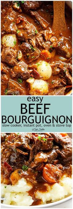 Tender fall apart chunks of beef simmered in a rich red wine gravy makes Julia Child's Beef Bourguignon an incredible family dinner. Slow Cooker, Instant Pot/Pressure Cooker, Stove Top and the traditional Oven method included! Easy to make, every step is worth it.