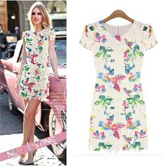 2014 European and American Women's Short Sleeved Summer New Printing Soluble Pus Size Lace Dress Wholesale $49.00 @Sarah Groth @Sylvie @Abigail Cormier @Alyssa @Angel Silver